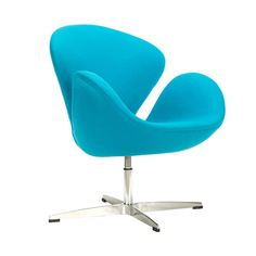 Inspired by mid-century modern furniture design principles, the Modern Curved Swivel Chair is comfortable, functional, and aesthetically pleasing. Settle into its cocoon-like seat and enjoy its swivel ...  Find the Modern Curved Swivel Chair, as seen in the Orbital Mid-Century Collection at http://dotandbo.com/collections/2015-trends-orbital-mid-century?utm_source=pinterest&utm_medium=organic&db_sku=DBI8003-BLU