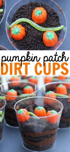 individually portioned Pumpkin Patch Dirt Cups make for the perfect fall snack at a home, school, or a Halloween party!These individually portioned Pumpkin Patch Dirt Cups make for the perfect fall snack at a home, school, or a Halloween party! Halloween Cupcakes, Bonbon Halloween, Dessert Halloween, Halloween Tags, Halloween Food For Party, Preschool Halloween Party, Halloween Food Recipes, Halloween Treats For School, Halloween Costumes