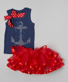 Look at this So Girly & Twirly Navy Anchor Tank & Red Pettiskirt - Infant, Toddler & Girls on #zulily today!