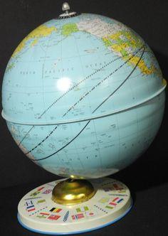 7.5 inch World Globe... , First Us Space Flight Depicted, Globe Maker: J. Chein & Company (Published: J. Chein & Company 1962 Burlington, N.J.)