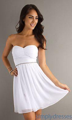 Short Strapless White Dress at SimplyDresses.com