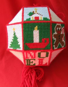plastic canvas christmas ornament large by rivertownvintage, $19.99----I think I would make mine on a smaller scale