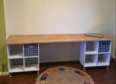 Next project to make. Desk made out of Kmart storage cubes and a Bunnings table top/chrome legs.