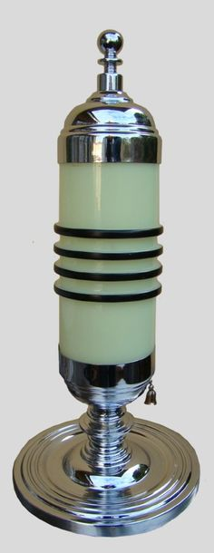 "Deco Chrome Custard Glass Lamp/Shade, 1930's, american chrome ""bullet"" lamp, all original"