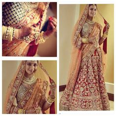 Gorgeous red lehenga teamed up with a peach dupatta and peacock blue and gold blouse