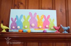 Easter crafts Canvas - Easter Bunny Canvas for the Mantle Easter Art, Hoppy Easter, Easter Crafts, Easter Bunny, Easter Eggs, Easter Projects, Craft Projects, Easter Ideas, Spring Crafts