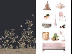 Opción 1 decoracion con papel pintado diseño #Chinella de #SophiaPega