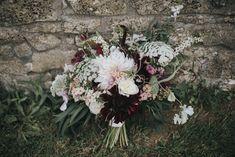 Blush & Burgundy Bridal Bouquet | Country Wedding at Farmers Barns, Rosedew Farm, Cardiff | Grace Elizabeth Photography and Film