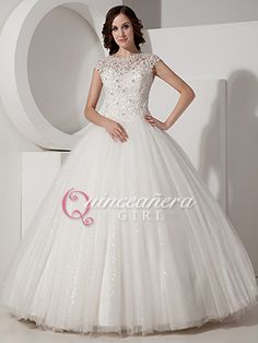 Ivory Ball Gown Beaded Corset With Straps Tulle Long Quinceanera Dress - US$ 215.99 - Style Q0180 - Quinceanera Girl