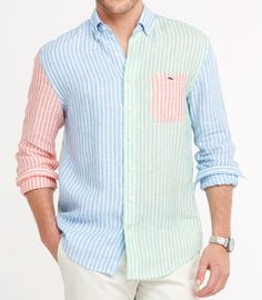 Shop Party Tucker Shirt at vineyard vines Southern Outfits, Preppy Outfits, Preppy Look, Preppy Style, Cool Shirts, Casual Shirts, Preppy Mens Fashion, Moda Casual, Denim Shirt