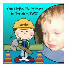 A little brown haired construction worker in a yellow hard hat with a hammer and several other construction workers with areas you can easily customize with your child's photo and birthday party specifics on Little Fix-It Man birthday invitations! Great for construction or little carpenter theme birthday parties! #birthday #kids #construction #fix #it #man #carpenter #customized #custom #childrens #peacockcards #cute #fun #hammer #colorful #add #photo #photo #personalized