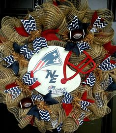 New England Patriots - Team Wreath find me on Facebook for orders https://www.facebook.com/pages/Custom-Wreaths/788713587866067?sk=photos_stream&tab=photos_albums#!/media/set/?set=a.790096881061071.1073741828.788713587866067&type=3