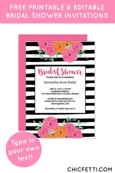 Free Printable Floral Striped Bridal Shower Invitations from @chicfettiwed