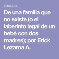 De una familia que no existe (o el laberinto legal de un bebé con dos madres); por Erick Lezama A.