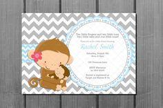 Monkey Baby Shower Party Invitation Card by CuddleBugInvitations, $9.00