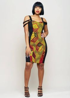 Adisa African Print Formal Dress with Straps Red/Yellow. African Print Dresses, African Dresses For Women, African Wear, African Attire, African Fashion Dresses, Fashion Outfits, African Style, African Prints, African Outfits