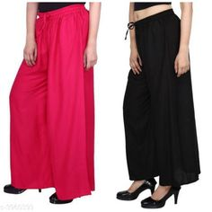 Palazzos Women's Solid Pack of 2 Palazzo Fabric: Rayon Waist Size: Up To 28 in To 42 in (Free Size ) Length: Up To 39 in Type: Stitched Description: It Has 2 Pieces Of Women's Palazzos  Pattern: Solid Country of Origin: India Sizes Available: Free Size, 28, 30, 32, 34, 36, 38, 40   Catalog Rating: ★4.1 (460)  Catalog Name: New Fabulous Rayon Women's Palazzos Vol 15 CatalogID_558588 C79-SC1039 Code: 553-3960399-348
