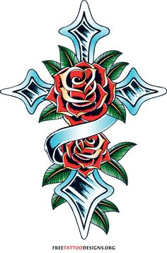 Cross tattoo with roses