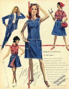 Brings back a lot of denim memories! These were very common styles--I had a skirt just like the lined one (it was reversible). Rare Lord & Taylor Fashion Art Denim Advertising (1965)