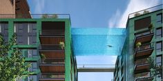 This pool is made entirely of glass and suspended 10 stories in the air.