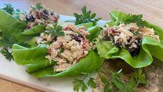 Mediterranean tuna lettuce wraps Tuna Lettuce Wraps, Lettuce Leaves, Marilyn Denis Recipes, Pasta Aglio E Olio, Wine Jelly, Jelly Recipes, Kalamata Olives, Tuna Salad, Roasted Red Peppers