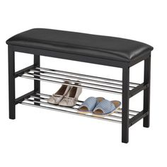 Black Bonded Leather Black Frame Shoe Bench | Overstock.com Shopping - Great Deals on Benches