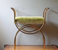 brass vanity chair with lime green velvet seat, reupholster in bright color velvet to pop Vanity Seat, Vanity Stool, Vanity Chairs, Hollywood Regency Decor, Hollywood Style, Vintage Iron, Vintage Vanity, Vintage Chairs, Green Fabric