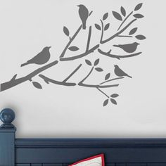 This birds on branch kids décor wall stencil can be painted in many ways to enhance the wall décor in your childs nursery, bedroom or playroom. It