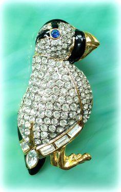 Vintage Clear Rhinestone/Black Enamel Gold-Plated Figural Bird Brooch