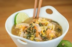 If you love a big ol' bowl of Asian soup like I do, you'll love this! Plan to Eat - Asian Chicken Soup with Napa Cabbage and Bok Choy - VikkiB