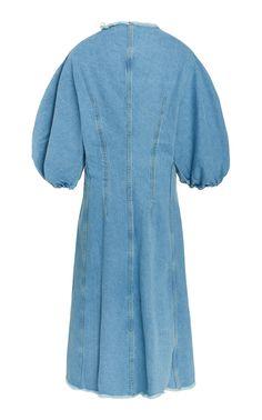 Click product to zoom Denim Ideas, Denim Fashion, Women's Fashion, Printed Maxi Skirts, A Line Skirts, Blue Denim, Chef Jackets, Feminine, One Piece