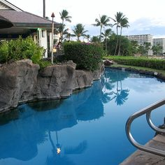 A quiet pool alongside an oceanview bar at the Sheraton Maui Resort