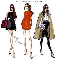 haydenwilliamsillustrations:  Happy Birthday Victoria Beckham - by Hayden Williams