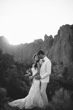 Sunset Wedding at Smith Rock State Park, Oregon | | Photo by Nakalan McKay