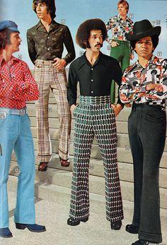 Bell bottom pants and printed disco shirts in the Sears Catalog, 1974 Retro Fashion, Vintage Fashion, Mens Fashion, 1970s Fashion Men, 1974 Fashion, 1970s Disco Fashion, Look Disco, Mode Outfits, Fashion Outfits
