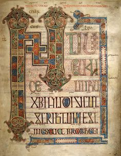 nitial Page of the Gospel of St. Mark.  The Lindisfarne Gaspels was produced around the year 700 AD in a monastery off the coast of Northu...