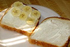 """Southern """"Nanner"""" Sandwich--Bananas and mayo on white bread"""