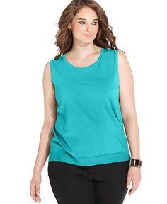 cf05d9b96460c August Silk Plus Size Sleeveless Shell Plus Sizes - Tops - Macy s