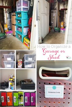 Great DIY shed ideas to organize the garden tools, pet supplies, and tools. Tips and storage ideas. These will work great for a garage as well.