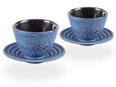2 Gusseisen-Teecups Hako je 100ml und 2 Gusseisen-Untersetzer rund in japanblau | Tassen, Becher, Cups | ANWENDUNGEN | tea4chill Matcha, Tee Set, Japan, Sugar Bowl, Bowl Set, Tea Cups, To Go, Tableware, Fine China