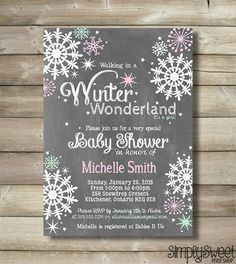 Captivating Winter Wonderland Girl Baby Shower Invite Invitation Pink Mint White Snow  Snowflakes Chalk Chalkboard Wintery Unique Modern DIY Baby Invite