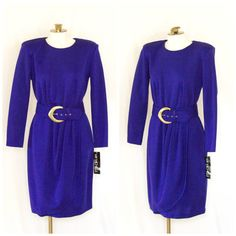 1980s long sleeve purple belted dress from My Michelle SIZE 6M New with tags by TimeTravelFashions