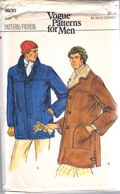 cfbb2f9227a Vogue 9930 1970s Mens Warm Faux Fur Lined COAT or Jacket adult vintage  sewing pattern by