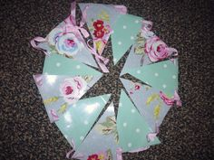 Oilcloth and ribbon bunting