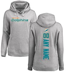 Miami Dolphins NFL Pro Line Women's Personalized Backer Pullover Hoodie - Ash