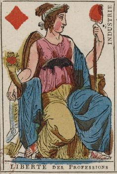 """French Revolution playing card issued 1793, Queen of Diamonds becomes """"Freedom of the Professions"""" with the motto """"Industry"""""""