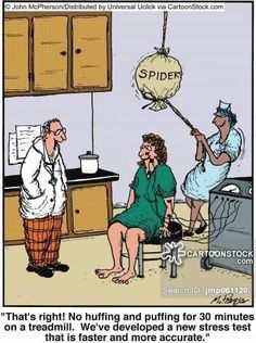 Stress Test funny cartoons from CartoonStock directory - the world's largest on-line collection of cartoons and comics. Funny Cartoons, Funny Comics, Funny Jokes, Comedy Comics, Cartoon Jokes, Medical Jokes, Hospital Humor, Stress Tests, Old Memes
