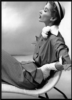 Frances McLaughtin-Gill, Lisa wearing hay by Lilly Daché, New York, Vogue, 1951