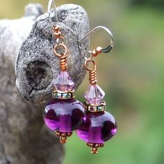 Glowing purple lampwork and crystal earrings for the woman who loves unique jewelry!