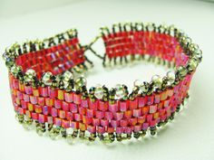 Bracelet Beadwork Beadweaving Red AB Seed Bead with Picot Trim - SRAJD - pinned by pin4etsy.com